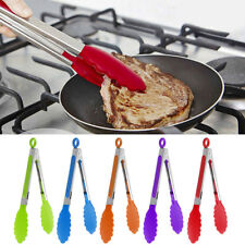 1PC Silicone Cooking Food Serving BBQ Stainless Tongs Steel Handle Utensil New