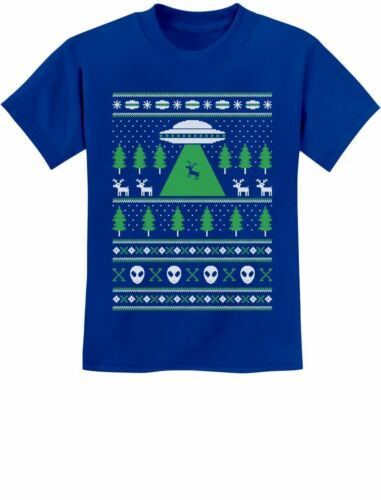 Alien Reindeer Abduction Ugly Christmas Sweater Youth Kids T-Shirt Xmas