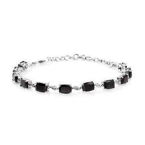 "Karelian Shungite Bracelet Platinum Over 925 Sterling Silver Size 6.5"" Ct 6.4"