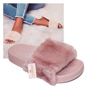 Sandalias Pelo De Zapatillas Rosas Pantuflas Mujer Chanclas Zapatos Rosa Detalles Suecos 2D9YEHIW