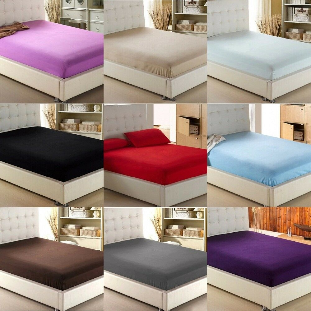 Luxury Fitted Sheet Twin Size Multi color 600 Thread Count Drop Up To 6