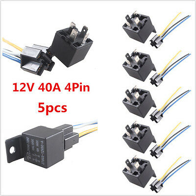 5 Pcs Black 12V 40A 4-Pin Car Automobile Premium Relay /& 4 Pins Socket With Wire