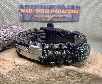 Paracord Bracelet Fire Starter Whistle Handmade Camo Survival Hunting Usa Made