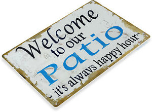 TIN-SIGN-Welcome-to-Patio-Beach-House-Cottage-Metal-Decor-Art-Kitchen-B010