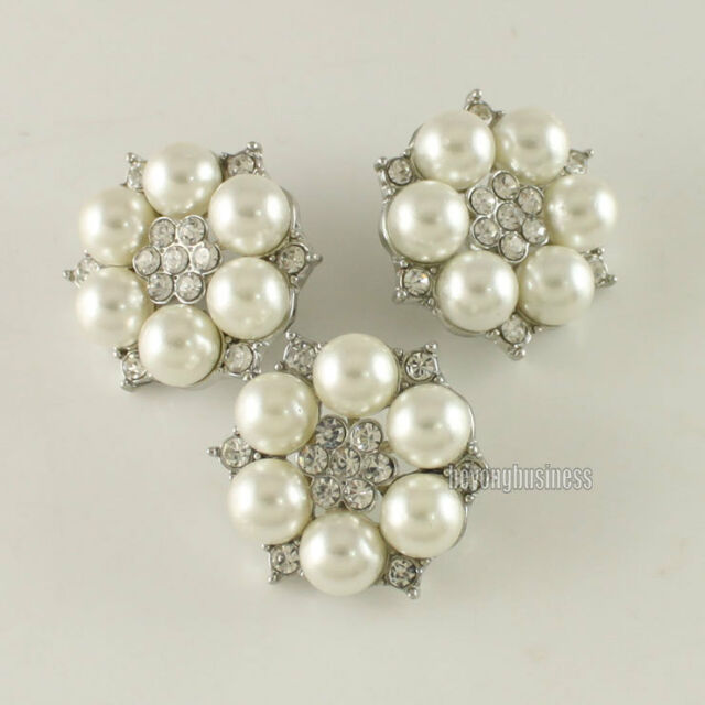 5 Pcs Clear Rhinestone Flower Fuax Pearl Shank Buttons Silver Tone Sewing Craft