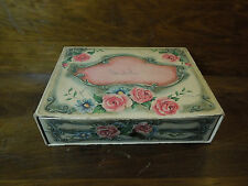 Antique Paper Chocolate Box Candy Box Pink and Cream with Roses
