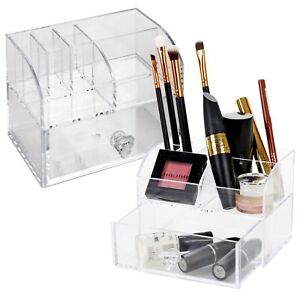 Details about 10 Compartment Clear Acrylic Makeup Holder Cosmetic Organiser  Storage Vanity NEW