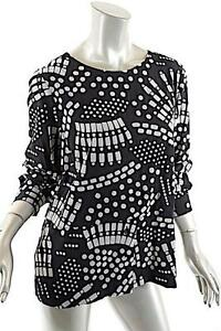 BITTE KAI RAND 1981 Black Gray 100% Rayon  Flock Print  Shirt - NWT ... ff68235096e