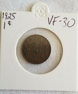 1925 CANADA Small CENT PENNY ONE CENT VF30 FREE SHIPPING