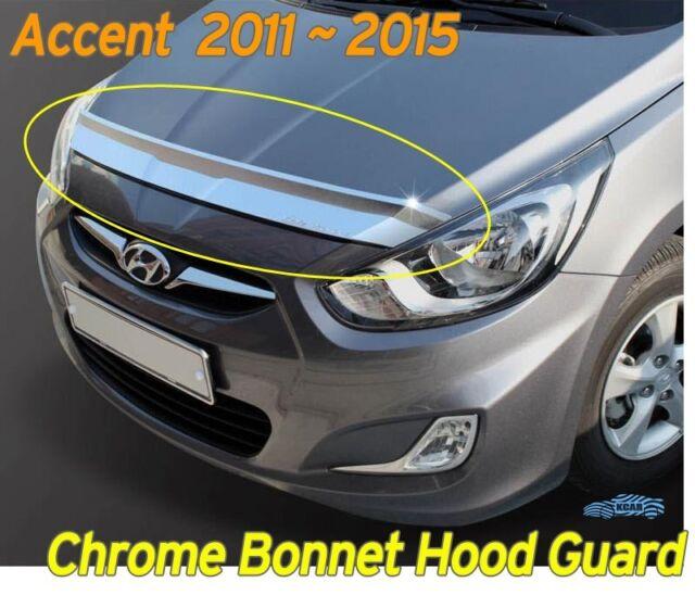 Chrome Bonnet Hood Guard Garnish Deflector K896 For Hyundai ACCENT 2011-2015