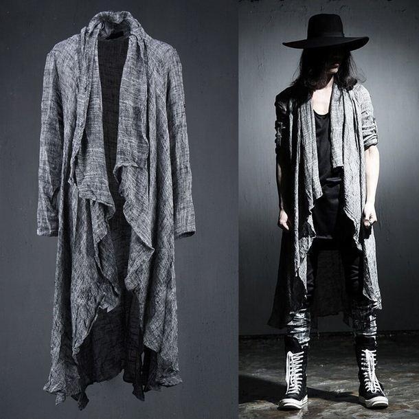 Men's punk Linen Long Sleeves Cape Shirt Coat cardigan hairdresser