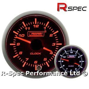 Details about 52mm Prosport Premium Amber / White Stepper Motor Analogue  Time Clock Gauge 12v