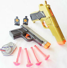 2x Toy Guns Military Detective Gold 9MM Pistol Cap Gun & Grey 9MM Dart Gun Set