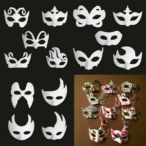 Details about 14 PCS DIY Unpainted Blank White Paper Masks Halloween  Masquerade Face Mask