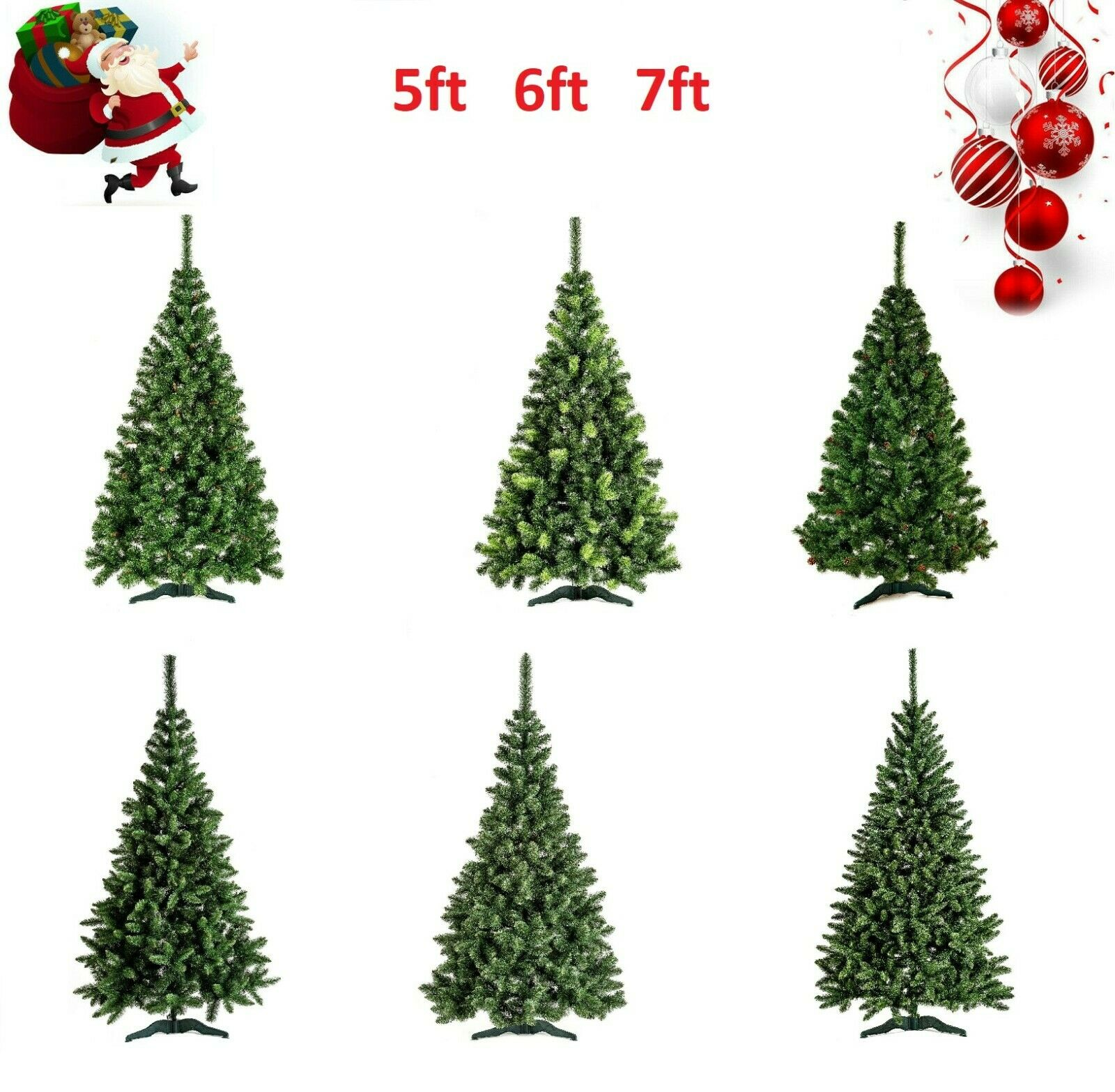 5 6 7FT LARGE ARTIFICIAL CHRISTMAS TREE SNOW & CONES REALISTIC XMAS DECORATION