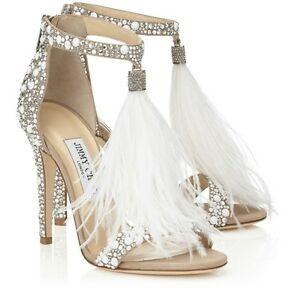 ddee8a4612ea8 Image is loading Jimmy-Choo-Ostrich-Feather-Crystal-Shoes-Size-6-
