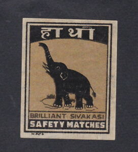 Ancienne-etiquettes-allumettes-Inde-BN55757-Elephant