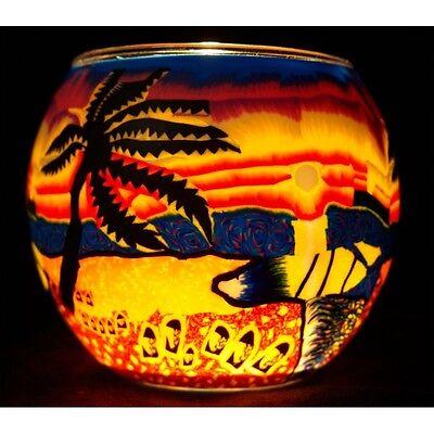 Hell Leuchtglas Nr.103 Ohne Wachs Ø11cm Dekoration Licht Windlicht Palme/ Strand