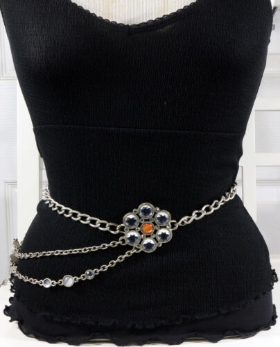 Crystal Flower Antique Silver European Fashion Chain Belt  S/M/L - MADE IN ITALY