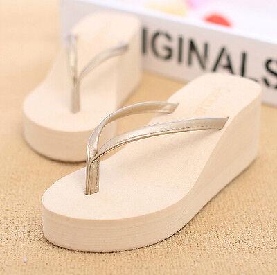 Pure Color Womens Beach Flip Flops Platform Wedge Heel Pumps Slippers Shoes