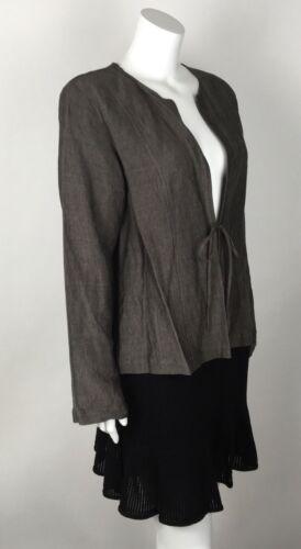 mélange Nwt en cravate femme Fisher de 178 blouson Eileen moyen uni lin brun watRHq0x