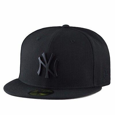 (selten) New Era York Yankees Enganliegender Hut Schwarz Metall Abzeichen / Kunden Zuerst