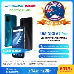 "UMIDIGI A7 Pro 4GB + 64GB /128GB Smartphone 6.3"" FHD Global Unlocked Android 10"