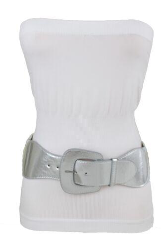 Hot Women Silver Faux Leather Wide Band Elastic Cinch Belt Hip Waist Size XS S M