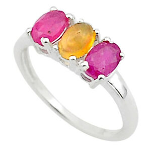 2.73cts 3 Stone Natural Ethiopian Opal Red Ruby 925 Silver Ring Size 7 T40917