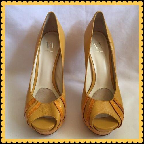 Velvet Angels Yellow Laloco Peep Toe Platforms Hee
