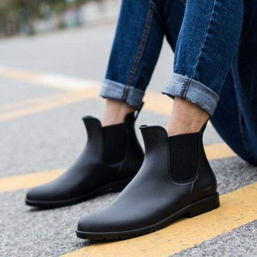 Mens Rubber Rain Boots Non-Slip Waterproof Martin Shoes Comfy Slip on Ankle Flat