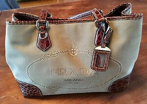 cd771a7d69ac Image is loading PRADA-SAFFIANO-Canvas-tote-With-Brown-Alligator-Trim