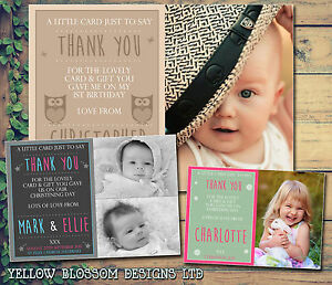 10 Photo Joint Personalised Thank You Cards Birthday Christening
