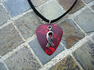 Red Hope Ribbon Guitar Pick Necklace, Heart Disease, Stroke, Drug Abuse, DARE