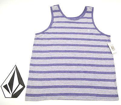 VOLCOM YOUTH KIDS BOYS EFFER STRIPE TANK T Shirt Stripe Purple NWT//NEW $22