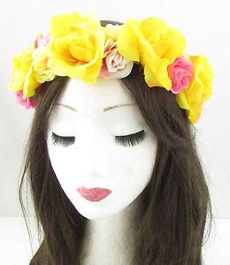 Blush Pink Yellow Rose Flower Headband Hair Crown Festival Garland ... 14a676ed621