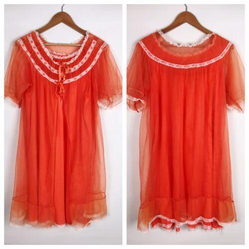 Vintage Womens Night Gown Size M Babydoll Orange R