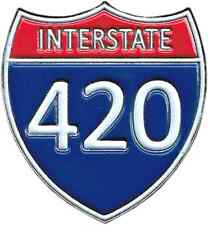 3960 Interstate 420 Sign Enamel Hat Pin Button Brooch Highway Freeway Pot Weed