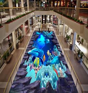 3D delfines rocas Piso impresión de parojo de papel pintado mural 54 5D AJ Wallpaper Reino Unido Limón