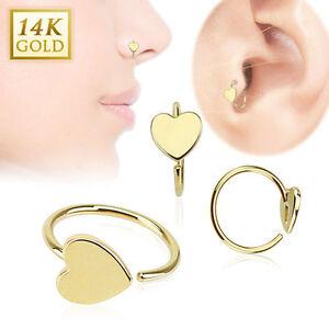 14K Solid Gold HEART Loop HOOP RINGS Stud Nose Ear Tragus Daith