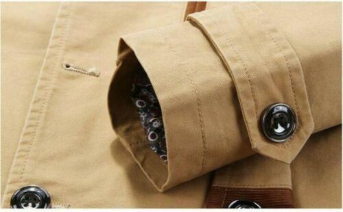 Men/'s Spring Slim Lapel Trench Coat Jacket Single Breasted Business Windbreaker