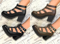 NEW WOMENS GIRLS GLADIATOR CUT OUT SANDALS (PU) PLATFORM CHUNKY BLOCK HEEL SIZE