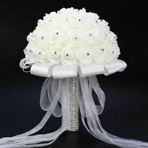 Bridal Artificial Foam Roses Flower Bouquet Engagement Wedding Bride Party White