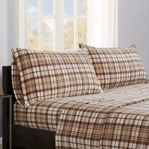 97561e63d4f93 Gingham Plaid Bed Sheets King Size Bedsheets Set Tan Brown Flannel Flat  Sheet 4p ...