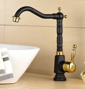 Black Gold Color Bathroom Faucet Vessel Sinks Faucet Cold And Hot Water Tap Ebay