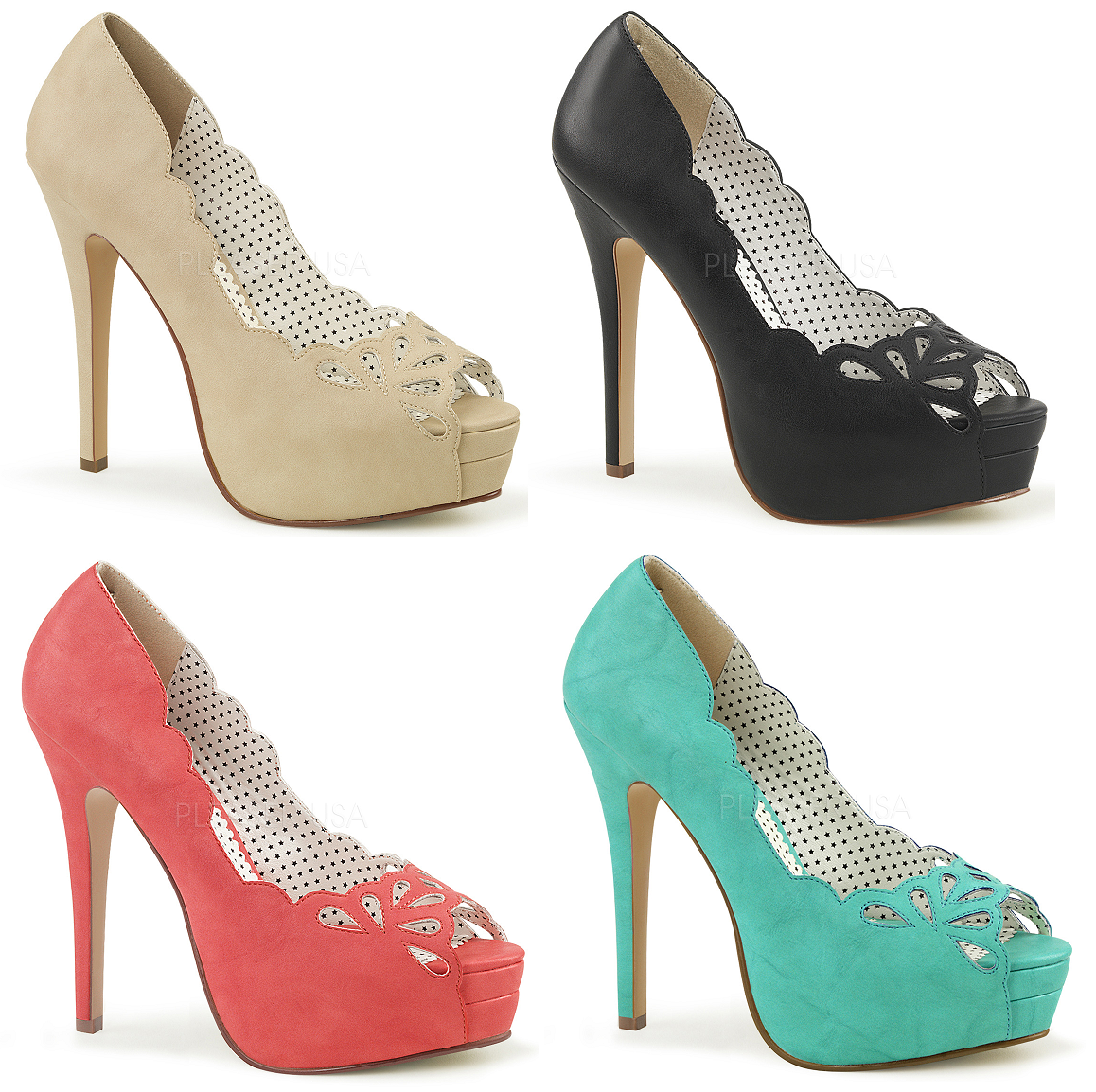 Pin Up Couture BELLA-30 Platform Peep Toe Pump
