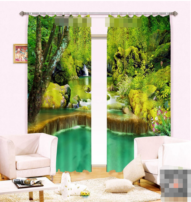 3D Fresh River 0Blockout Photo Curtain Printing Curtains Drapes Fabric Window CA