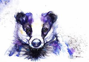 Badger-Sale-Original-Watercolour-Print-Card-Gift-Wildlife-Animal-Art-wall