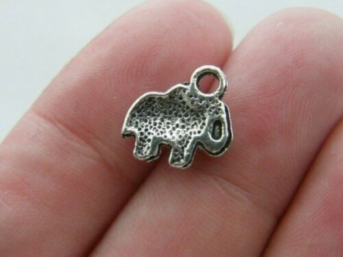 HOLE 2.5mm 20pc TIBETAN ANTIQUE SILVER LUCKY BABY ELEPHANT CHARM 11x11x2mm