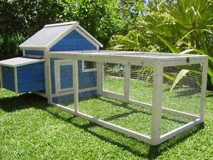 Chicken-Coop-Somerzby-Blue-Cottage-Rabbit-Hutch-Guinea-pig-Wooden-cage-large-run